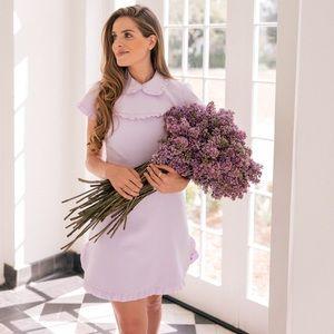 NWT Gal Meets Glam Emma Ruffle Crepe Dress Lilac